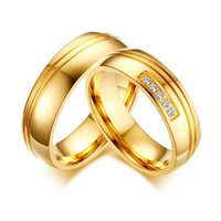 Gold Color Engagement Couple Rings Cubic Zirconia Stainless ...
