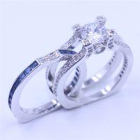 Victoria Wieck Luxus Frauen Blau Birthstone Zirkon cz Ring 925 Sterling Silber Frauen Engagement Hochzeit Band Ring Sz 5-11 Geschenk