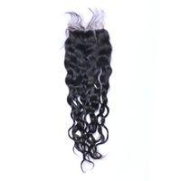 브라질 자연 웨이브 4 × 4 위로 레이스 폐쇄 100 % 인간의 머리 자연 검정 표백 된 매듭 레이스 폐쇄