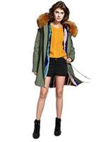 Orange garniture de fourrure de garniture Jazzevar marque Coloré rayures fourrure de lapin doublure armée vert toile vestes neige fourrure parkas Australie Nouvelle-Zélande