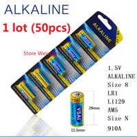 50st 1 LOT STORLEK 8 LR1 L1129 AM5 STORLEK N 910A 1.5V Alkalisk Battery Card Package Gratis frakt