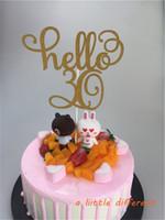 11.5x15 cm 1 adet / takım Altın Glitter Hello 30 Kek Topper Otuz Doğum Günü Topper Düğün Pastası Dekorasyon Malzemeleri