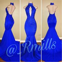 Apliques de encaje azul real con cuentas Vestidos de fiesta de baile 2018 Sirena sin espalda sexy Vestidos largos de noche Vestidos para ocasiones especiales