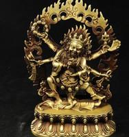 النقي البوذية النحاس 6 الأسلحة mahakala فاجرا كينغ كونغ طرد الأرواح الشريرة الله بوذا تمثال حديقة الديكور 100٪ ٪ النحاس
