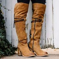 b67270e95ce9 Damenmode über Knie Stiefel Lady Vintage Chunky Heel Belt Lange Stiefel
