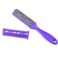 2 * pennelli per trucco spazzola per capelli Pro Hair Razor Comb Scissor Hairdressing Trimmer Rasatura per capelli lame Cutting Thinning styling tool