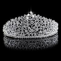 Muhteşem Köpüklü Gümüş Büyük Düğün Diamante Pageant Tiaras Hairband Kristal Gelin Taçlar Gelinler için Saç Takı Başlığı