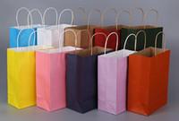 100pcs 무료 배송 13 컬러 패션 핸드백 길이 핸들 종이 가방 선물 포장 27 * 21 * 11cm