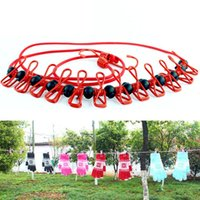 8 Colors Optional Portable Clothesline With Clips Multifunct...