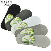 Al por mayor-4pcs = 2pairs / lot Calcetines de los hombres calcetines de fibra de bambú antideslizante de silicona Invisible Boat Socks primavera verano moda masculina tobillo calcetines
