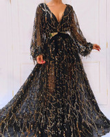 2019 Split Evening Gowns Blingbling Black and Gold V Neck Long Sleeves Sheer Skirt with Golden Metal Belt Sparkly Formal Dresses
