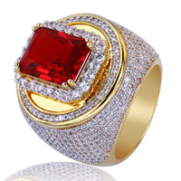 Men Gold Color Hip Hop Rings Micro Pave Big Red CZ Stone All...