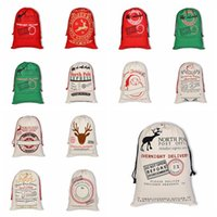19 Styles Christmas Sacks Canvas Santa Sacks Xmas Gift Stock...