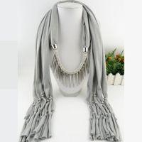 Spike Tassel Sciarpa Collana pendenti Sciarpe autunno Donna Collana Sciarpa con charm bohemien regalo gioielli
