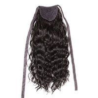 Diva1 cabelo humano ondulado ondulado encaracolado rabo de cavalo envoltório em torno do clipe no cordão brasileiro cabelo cordial rabo de cavalo para mulheres negras 120g 4 cores