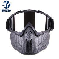 HZYEYO MOTOCORSS Съемная модульная маска очки для маски и фильтр рта для мотоцикла открытый старинный шлем M-005