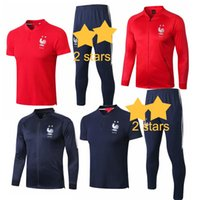 Survêtement French 2 Stars Polo Pantalon Survêtement Adulte Veste De Football Uniforme TWO / THREE PIECE Survêtement De Football À Manches Courtes
