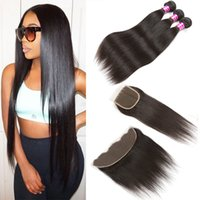 Peruvian Human Virgin Hair Straight Hair With Lace Closure 3...