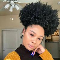 브라질 버진 킨키 곱슬 머리 포니 테일 인간의 머리 Drawstring 짧은 Hight 포니 테일 아프리카 킨키 컬리 헤어 클립에 포니 테일 블랙 여성