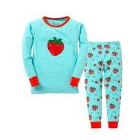 nouveau pyjama fraise filles enfants fruits pyjamas enfants vêtements ensembles bébé 100% coton vêtements de nuit pour 2-7T