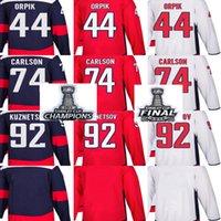 Ucuz 2018 Stanley Kupası Şampiyonlar Final Erkekler Washington Başkentleri Brooks Orpik John Carlson Evgeny Kuznetsov Boş Kırmızı Özel Hokeyi Formalar