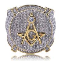 Hip Hop massonico Anello Tutti fuori ghiacciato di alta qualità della CZ Il micro anelli di rame placcati Colore Donne Uomini Per