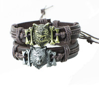 Man' s Coffee Leather Bracelet Cool Wolf Head Design Cha...