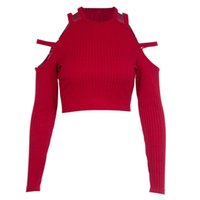 Ladies Sexy Solid Burgundy Knitted Crop Tops Women Autumn Co...