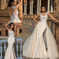 2018 Charming Sheer Neck Mermaid Wedding Dresses Detachable ...