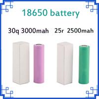 2018 de Alta Qualidade 25R 18650 bateria INR Bateria 2500 mAh 3000 mah 3.7 V 20A Recarregável De Lítio Para E Cig Caixa Mod FEDEX