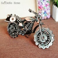 SaiDeKe 21cm Retro Motorcycle Model Metal Vintage Motor Figu...