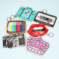 Cartoon Keychain Coin Purses Women Girls Mini Wallet Keychai...