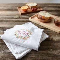 Nueva llegada de la servilleta de mesa de algodón bordado servilleta 6 unids toalla de cocina paño de limpieza toalla de té bordado 45 x 70 cm servilleta