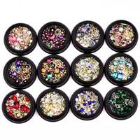 Renkli Kristal Tırnak Rhinestones 3D Nail Art Dekorasyon Manikür Takı Bakır Boncuk Glitter Nail Aksesuarları Perçin