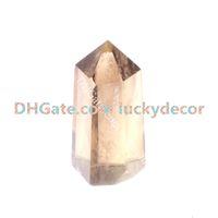 Point de tour de quartz fumé coupé à la main avec un bâton de baguette d'obélisque naturel pour pierres gemmes à facettes pour la guérison du cristal, le reiki et les grilles en cristal