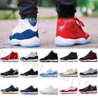 avec boîte haute coupe Pas Cher Nouveau 11 Velours Heiress rouge bleu Gris Suede Basketball Chaussures Hommes Spaces Confitures 11S XI Chaussures de Sport US 5.5-13 Eur 36-47