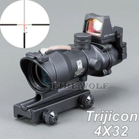Trijicon ACOG 4X32 Black Tactical Real Fiber Optic Red Освещенный коллиматор Red Dot Sight Hunting Riflescope