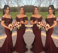 Borgonha Sparkly Lantejoulas Off Ombro Longo Da Dama de Honra Vestidos com Manga Curta Sereia 2018 Árabe Do Convidado Do Casamento Formal Vestidos Vestido de Noite