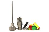 4 في 1 مسمار بونغ أداة Domeless التيتانيوم مع 14MM 18mm والمشتركة الحجم كارب كاب Slicone جرة Dabber لرسكلر النفط الحفارات بونغس