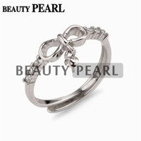 5 Pieces Dangle Pearl Ring Mount Cubic Zirconia 925 Sterling...