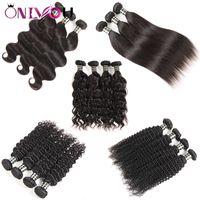 10A Perulu Düz Virgin İnsan Saç Dokuma Uzantıları Vücut Dalga Derin Kinky Kıvırcık Saç Demetleri 3 veya 4 Demetleri başına lot Doğal Siyah