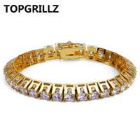 TOPGRILLZ Hip Hop New Fashion Iced Out Bling Braccialetto di gioielli in oro colore Micro Pave CZ Stone Braccialetti 10mm Larghezza per uomo donna