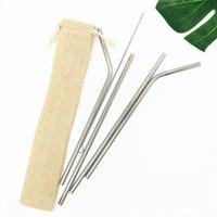 재사용 가능한 금속 스테인레스 스틸 짚 무료 조합 4 + 1 세트 Burlag Bag 포장