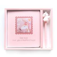 """1 مجموعة """"الوردي يونيكورن"""" لطيف دفتر هدية حزمة يستعصي تغطية يوميات جميلة جل القلم القرطاسية هدية freenote"""