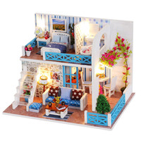 DIY Doll House Seaside Villa Miniature Small Wooden Room Box...