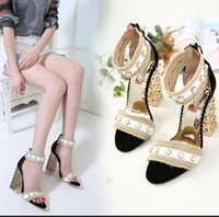 Women High Heels Zip Sandals Summer Pearl Leather Decoration...