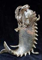 chineses Collectible Old Tibet Silver Aushöhlen Drachenfisch Räuchergefäß