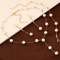 Doce conjunto de jóias para o escritório da senhora elegante imitação de pérolas colar pulseira brinco set para mulher frete grátis