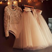 Two Piece Lace Tulle Flower Girls Dresses For Weddings Long ...