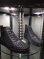 Prefer Gift Spikes High Top Red Bottom Studded Sneakers Shoe...